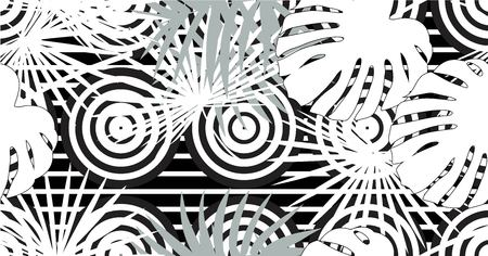 Tropical seamless vector floral pattern with palm leaves, jungle leaf. Tropic monochrome background, black and white illustration. Abstract texture, polka dot Standard-Bild - 124561843