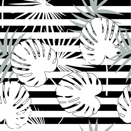 Tropical seamless vector floral pattern with palm leaves, jungle leaf. Tropic monochrome background, black and white illustration. Abstract texture, polka dot Standard-Bild - 124561844