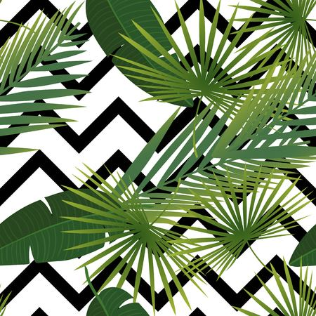 Beautiful tropical abstract color and green palm leaves seamless vector pattern on a background of geometric diagonal black and white lines. Vector illustration