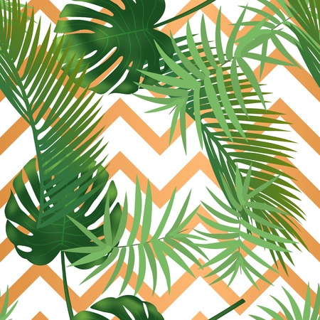 Hojas de palmera tropical de verano de patrones sin fisuras en rayas de textura de cobre. Ilustración vectorial
