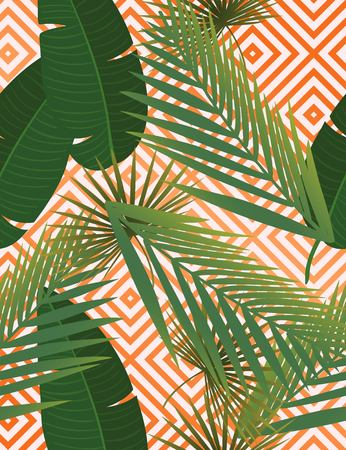 Summer tropical palm leaves seamless pattern on copper texture stripes. Vector illustration