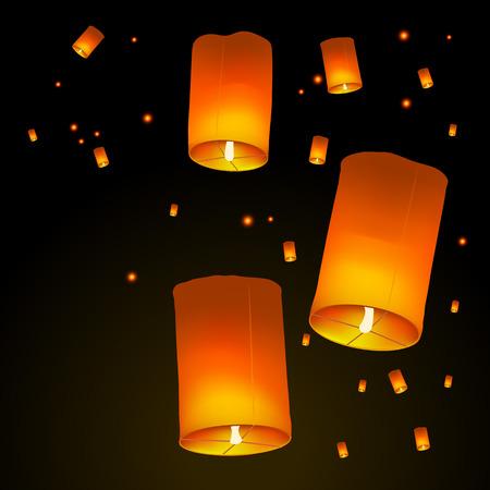 Feliz fondo de vacaciones de Diwali con linternas de cielo flotando en el cielo, concepto de celebración del Festival indio de luces, ilustración vectorial. Ilustración de vector