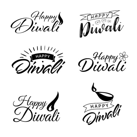 Happy Diwali. Handwritten brush black text. Beautiful lettering invitation, greeting, prints, posters. Typographic inscription, calligraphic design vector 写真素材 - 119087243
