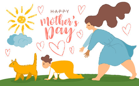 Mother and son. Fun cartoon post card for mother s day with cat, crawling baby and mom with big limbs and noisy texture. Mother s day card, background