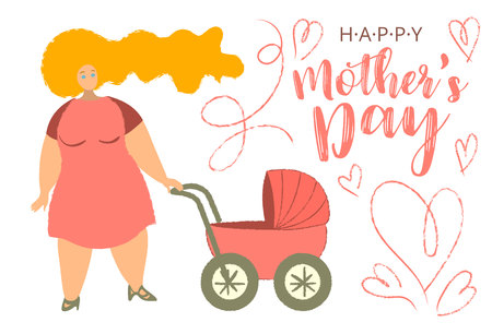 Happy Mothers s Day cartoon card with trendy big limbs illustration. Mother with baby buggy. Woman with baby carriage. For shower babe, album cover, poster and celebration. Vector.  イラスト・ベクター素材