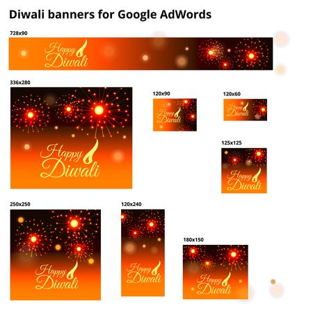 Set of ad banners for Diwali Festival with sizes for  Adwords. Realistic firework. Diwali typography. Diwali logotype.