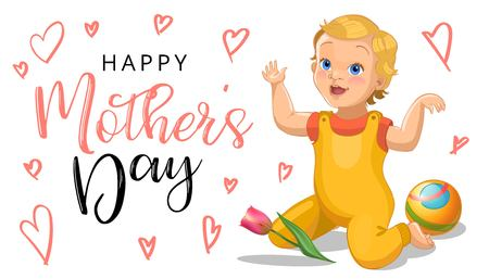 Mother s day greeting card with relistic cartoon and rubber ball baby and flowers - women s day - 8 march