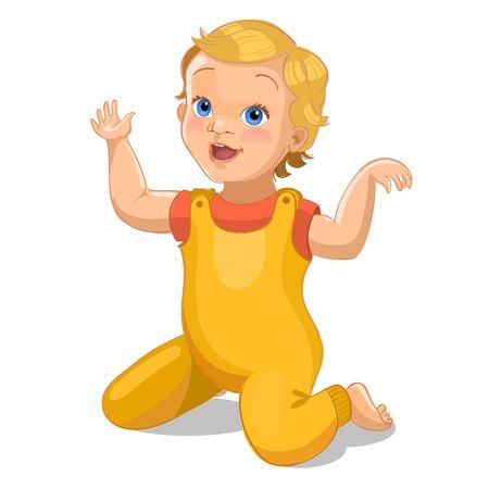 Realistische kleine baby in geel pak. Baby stripfiguur. vector illustratie