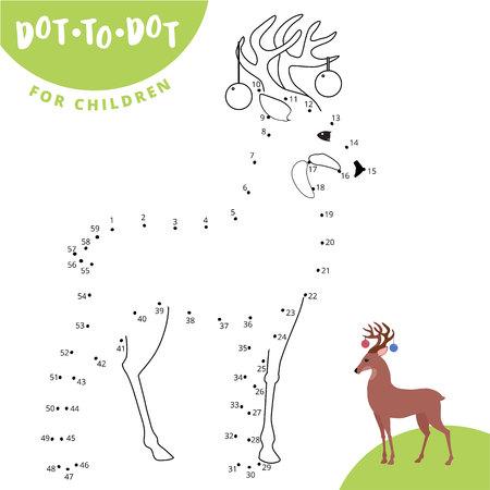 Verbinden Sie die Punkte, um das Tierlernspiel für Kinder-Rehwild-Vektorillustration zu zeichnen