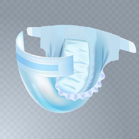 Saugfähige Windel für Babys. Realistische Vektorgrafik für Windelpackungen und andere Babyproduktionen.