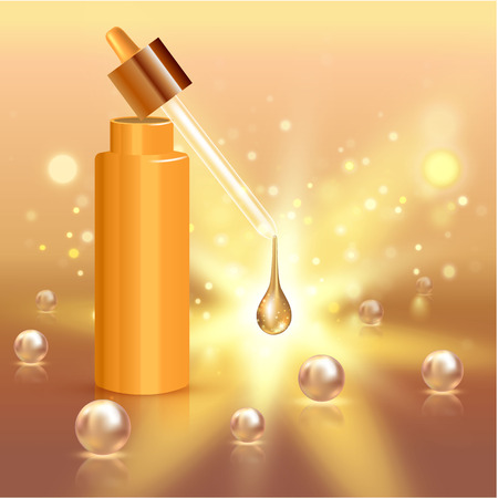 Moisture cream reservation, Improves moisture absorption for skin care. Background Concept with pearls and gold drop of water in lighting effect. Vector illustration