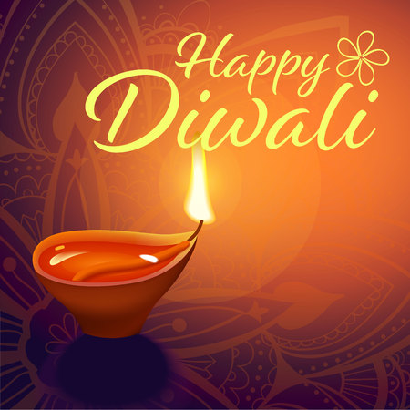 Post card for Diwali festival with realistic indian lamp with fire flame and mandala. Happy Diwali concept, insignia. Typography poster or logo for Diwali festival. Banner for web. Çizim