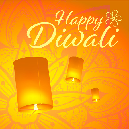 Post card for Diwali festival with realistic sky lanterns and mandala. Happy Diwali concept, insignia. Typography poster or logo for Diwali festival. Banner for web.