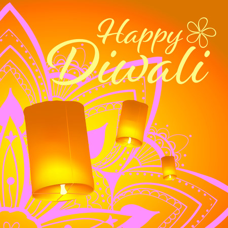 Post card for Diwali festival with realistic sky lanterns and mandala. Happy Diwali concept, insignia. Typography poster or logo for Diwali festival. Banner for web. Vectores