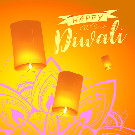Post card for Diwali festival with realistic sky lanterns and mandala. Happy Diwali concept, insignia. Typography poster for Diwali festival. Banner for web.