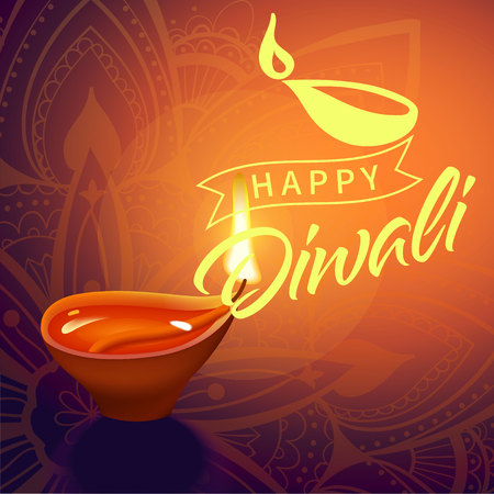 Post card for Diwali festival with realistic indian lamp with fire flame and mandala. Happy Diwali concept, insignia. Typography poster for Diwali festival. Banner for web. Ilustração
