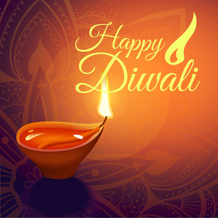 Post card for Diwali festival with realistic indian lamp with fire flame and mandala. Happy Diwali concept, insignia. Typography poster for Diwali festival. Banner for web. Vectores