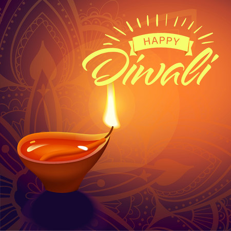 Post card for Diwali festival with realistic indian lamp with fire flame and mandala. Happy Diwali concept, insignia. Typography poster or logo for Diwali festival. Banner for web. Ilustração