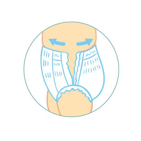 Bragas de pañales para infografías de bebés. cómo quitar las bragas del pañal. pantalones para niños, con características de iconos. Resistencia a la humedad, ventilación, elasticidad, antibacteriano. Protección, higiene para lactante en pañales. Ilustración de vector.