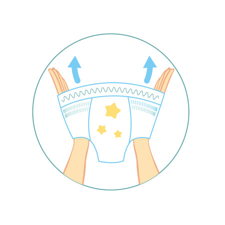 Diaper panties for baby infographics. kids pants, with characteristic of icons. Moisture resistance, ventilation, elasticity, antibacterial. Protection, hygiene for infant in diapers. Vector illustration. 向量圖像