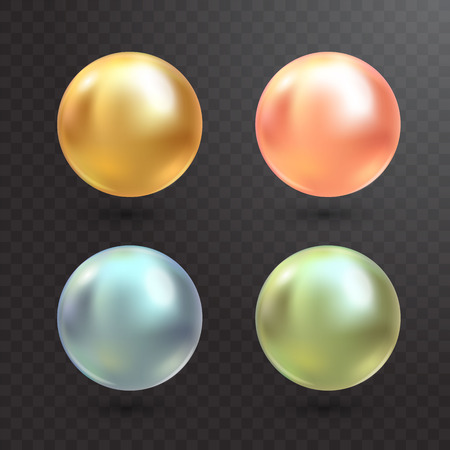 Realistic varicoloured pearls vector set on transparent background. Precious pearl in sphere form. Pearl is luxury glossy stone illustration Illustration