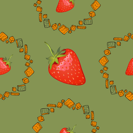 Hand drawn seamless pattern of cookies products and strawberry. Baked goods background. Vector illustration.