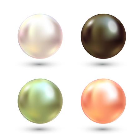 Insieme di vettore di perle variopinte realistiche. Perla preziosa a forma di sfera. La perla è un'illustrazione di pietra lucida di lusso
