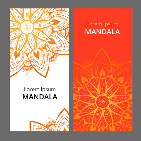 Indian floral paisley medallion banners. Ethnic Mandala ornament. Can be used for textile, greeting card, coloring book, phone case print.
