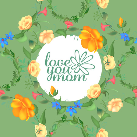 Mother s day greeting card with blossom flowers. Beautiful seamless design with typography. Garden plants with leaves. Vector illustration. Ilustração