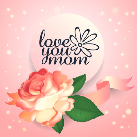 Mother s day greeting card with beautiful garden rose and leaves. Vector illustration.