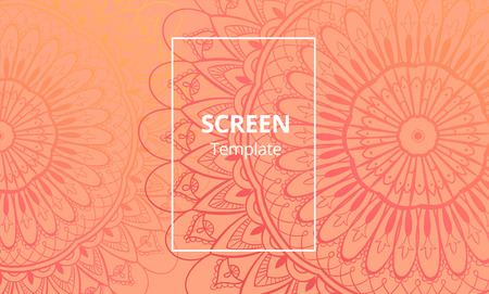 Computer screen design template with sofisticated mandala. Ethnic floral Mandala ornament. Vector illustration