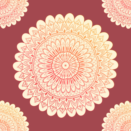 Ornamental seamless pattern with mandala. Vintage, paisley elements. Ornament. Traditional, Ethnic, Turkish, Indian motifs. Great for fabric and textile, wallpaper, packaging or any desired idea. Vector illustration Illusztráció