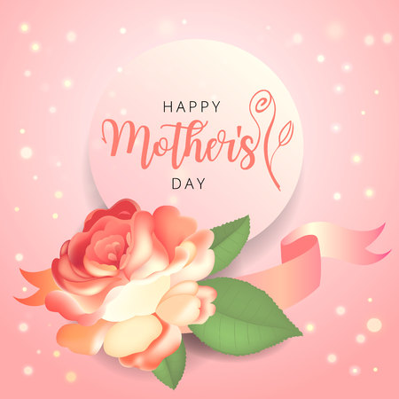 Mother s day greeting card with beautiful garden rose and leaves. Imagens - 121888794