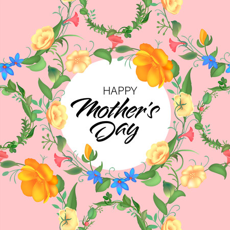 Mother s day greeting card with blossom flowers. Beautiful seamless design with typography. Garden plants with leaves. Vector illustration. Illustration
