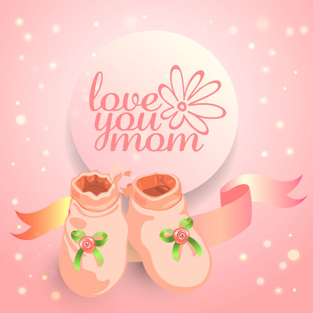 Mother day congratulation and invitation card with cute little baby booties and typography logo with rose blossom.