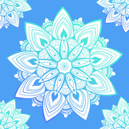 Ornamental seamless pattern with mandala. Vintage, paisley elements. Ornament. Traditional, Ethnic, Turkish, Indian motifs. Great for fabric and textile, wallpaper, packaging or any desired idea. Vector illustration Ilustração