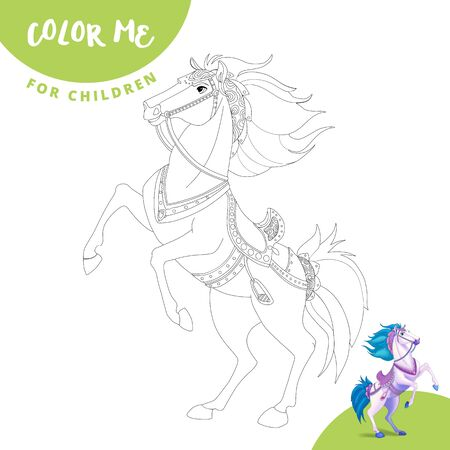 Coloring page. Color me horse. Realistic cartoon horse. Cute horse smiles. Imagens - 127407420