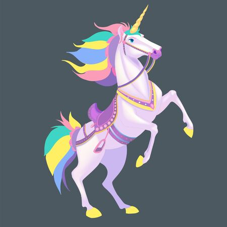 White Unicorn vector illustration for children design. Rainbow hair. Cute fantasy animal. Isolated.
