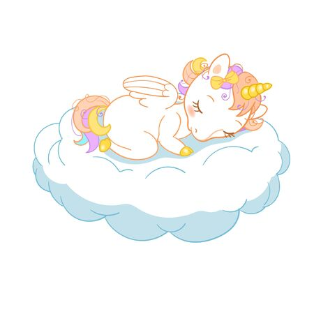 Magic cute unicorn in cartoon style. Doodle unicorn sleeping on a cloud. Vector illustration for cards, posters, kids t-shirt prints, textile design. EPS 10