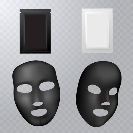 realistic black facial cosmetic sheet mask on transparent background for your design. Package design for face mask.