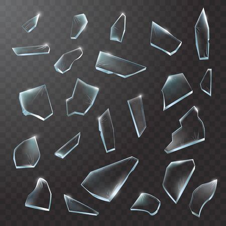 Broken glass pieces. Shattered glass on black transparent background. Vector realistic illustration Vettoriali
