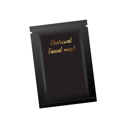 Vector realistic blank package, disposable foil sachet for facial mask or shampoo, isolated on background. Cosmetic product for face care, skin treatment. Mockup for brand promotion, packaging design Standard-Bild - 129250097