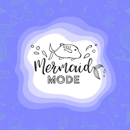 Typography design Mermaid mode. Seamless pattern with fantasy doodles of mermaid theme. Decorative background for kids girl textile. Çizim