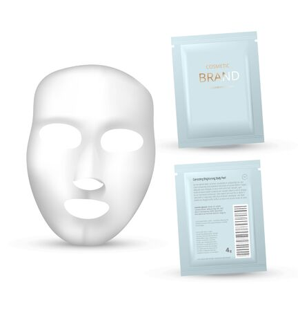 Plastic packaging with sheet mask. Blank foil or plastic sachet for food or medicines. Design template for cosmetic concept.