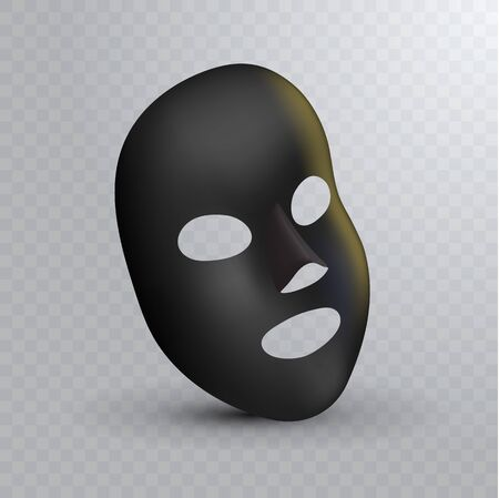 Facial Black Mask on transparent bakcground. Cosmetics Pack. Vector package design for face mask for your design