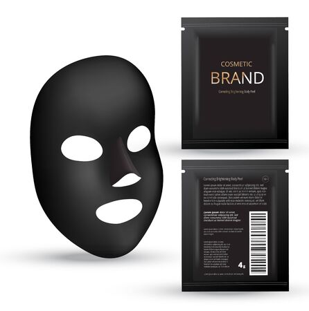 Realistic charcoal Black mask. Cosmetic plastic sachets. Design template. 3d realistic vector illustration.
