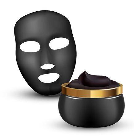 Charcoal detoxifying mask contained in cosmetic jar with elements. Realistic black mask. 3d illustration.