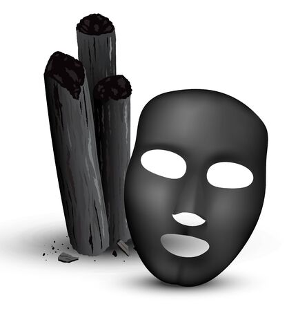 Charcoal bamboo sticks, black mask. 3d realistic vector illustration.  イラスト・ベクター素材