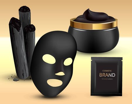 Charcoal bamboo sticks, black mask. Cosmetic creme in jar and plastic sachet. 3d realistic vector illustration.