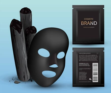 Charcoal bamboo sticks, black mask. Cosmetic plastic sachets. Design template. 3d realistic vector illustration.